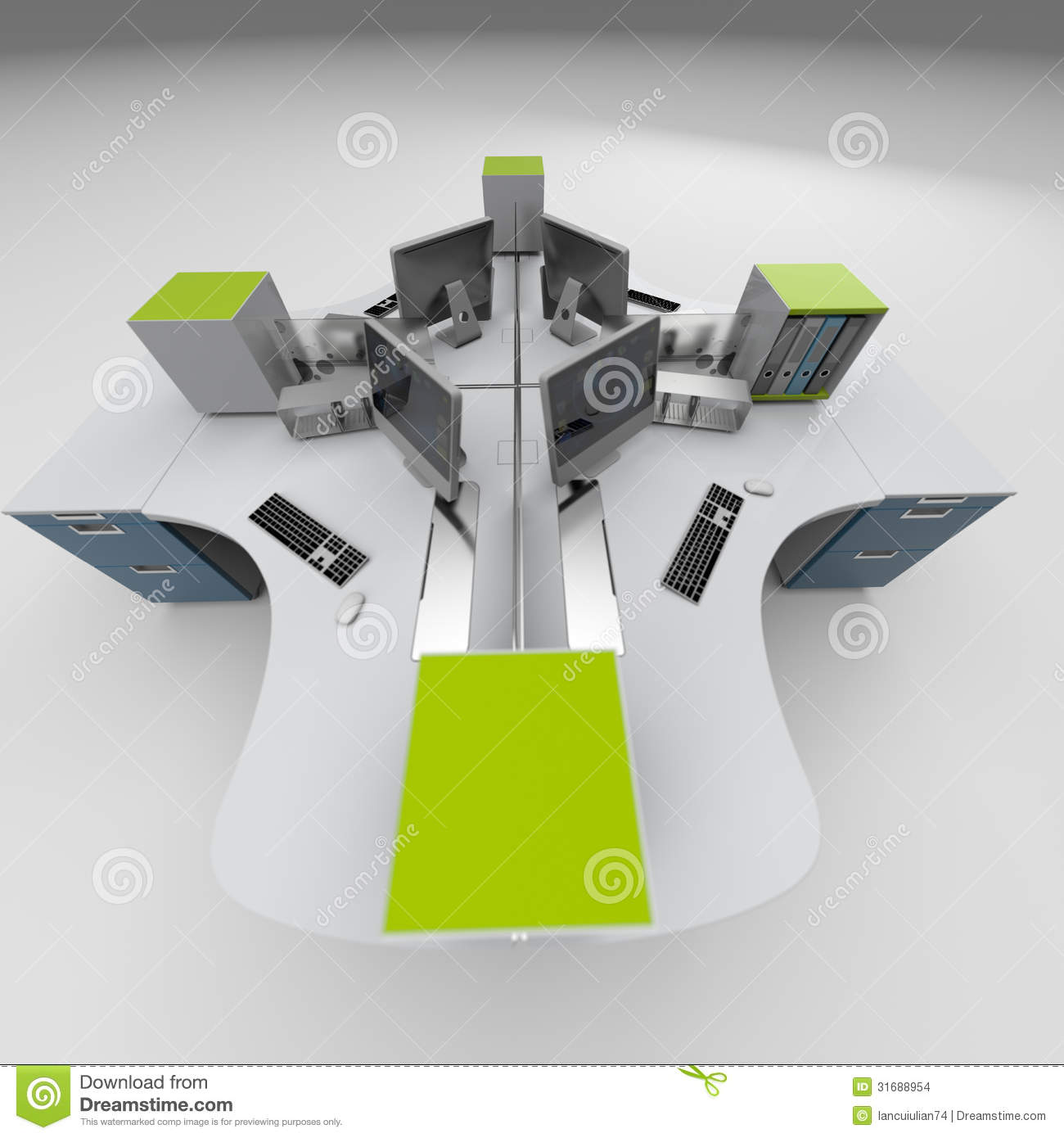 Office furniture design rendering studio stock images for Table graphic design