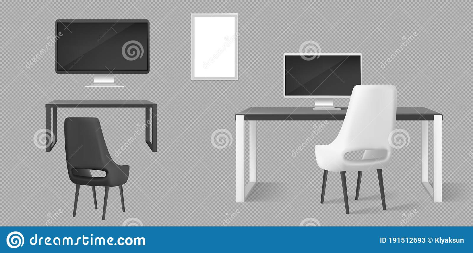 Office Furniture Desk Chairs And Monitors Stock Vector Illustration Of Design Director 191512693