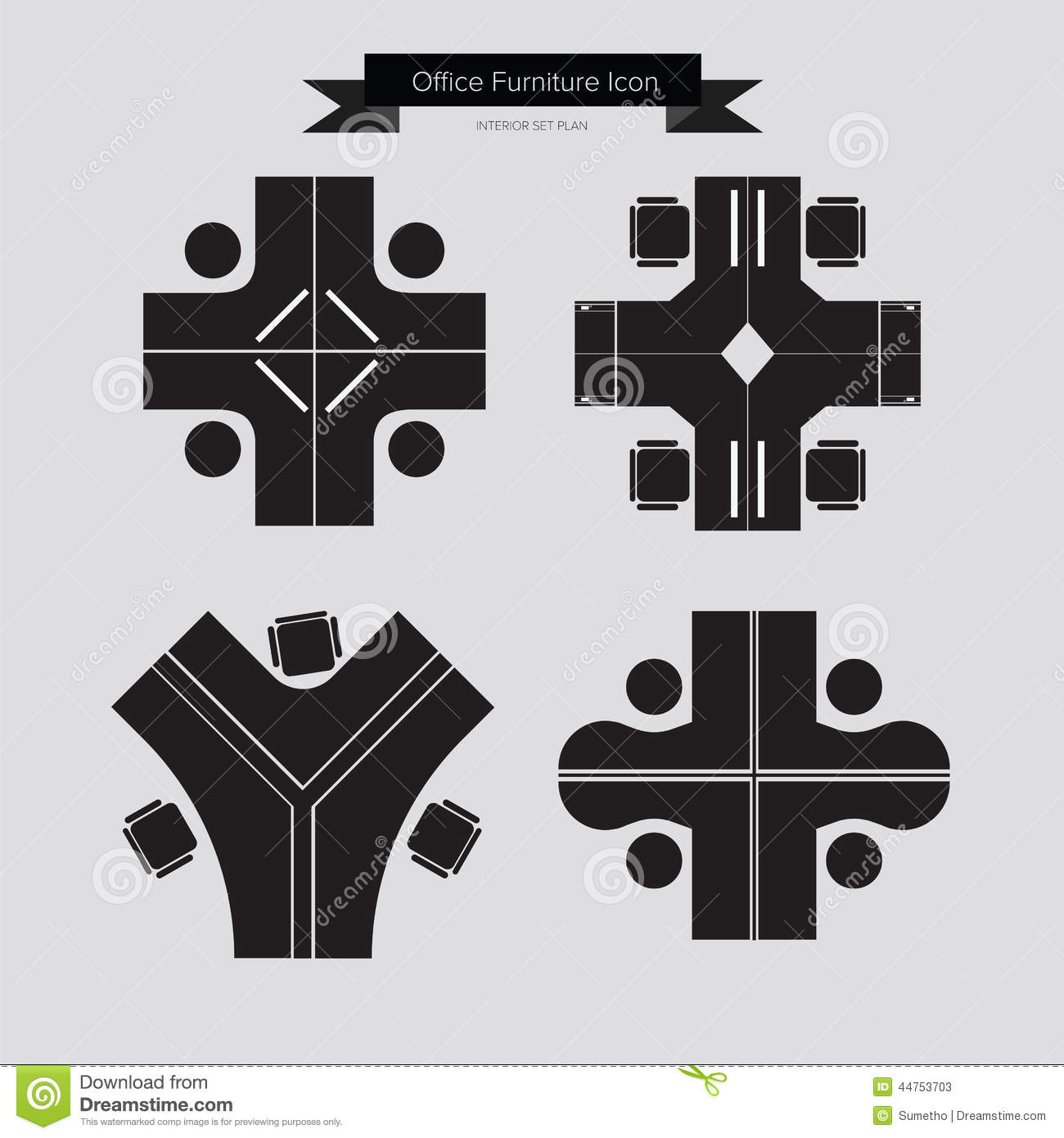 Office furniture top view - Royalty Free Vector Download Office Furniture