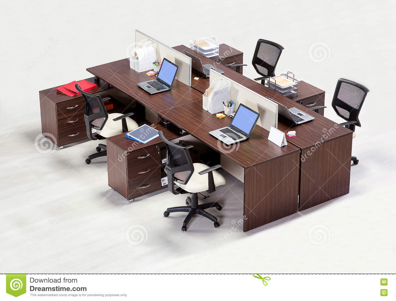 Office Furniture On A White Background Stock Photo
