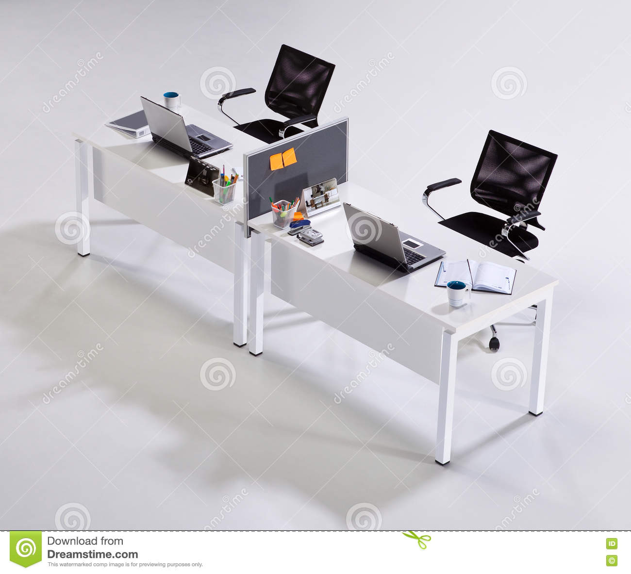 Office Furniture On A White Background