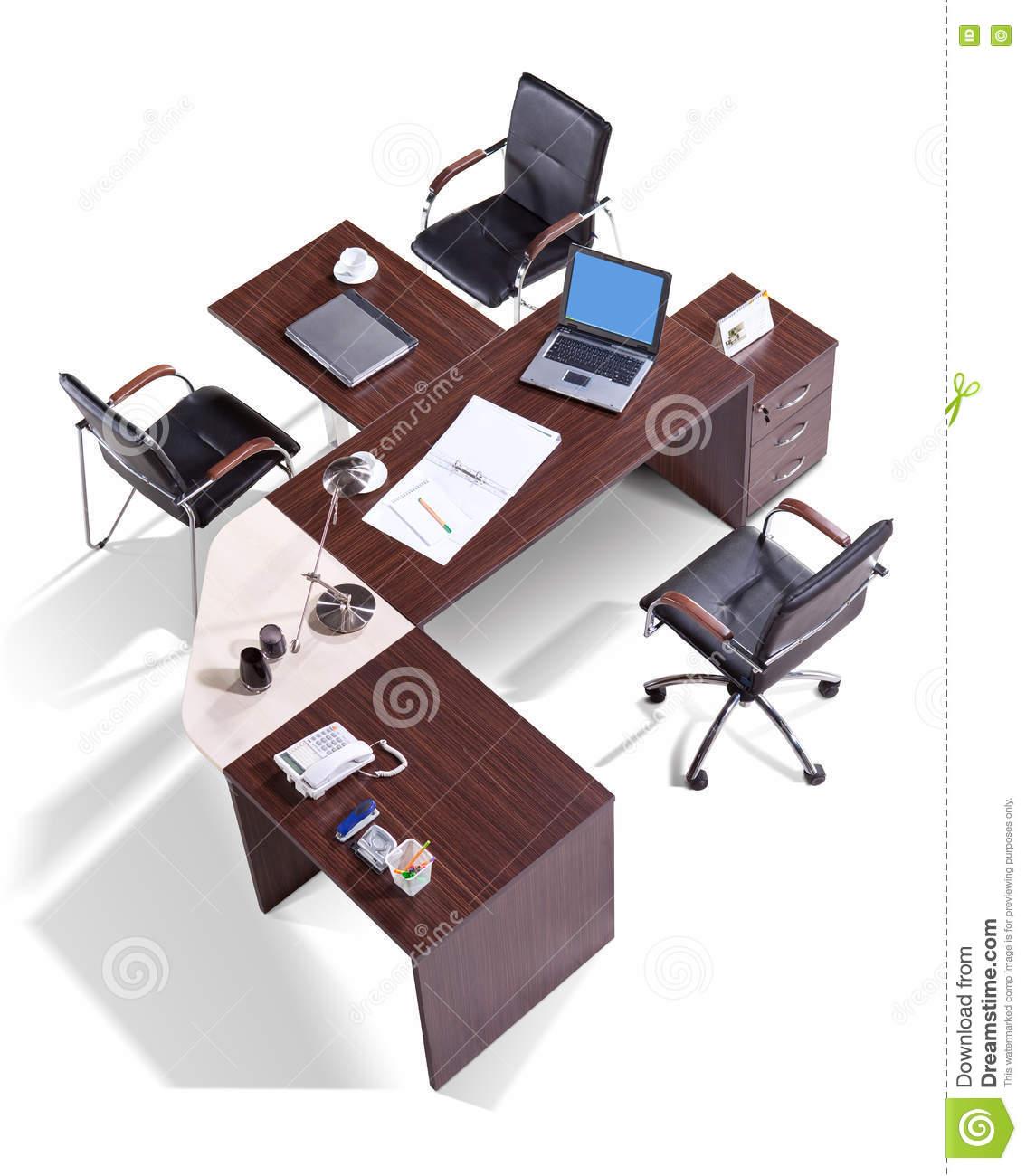 Office Furniture On A White Background Top View