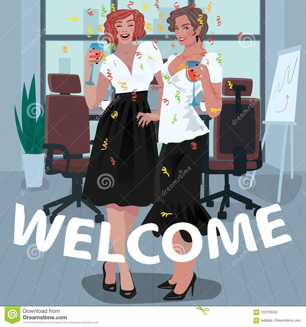 Office girls are welcomed on the job stock vector illustration of two happy young girls dressed in dress code office employees are welcomed with glasses in their hands first day on the job concept m4hsunfo