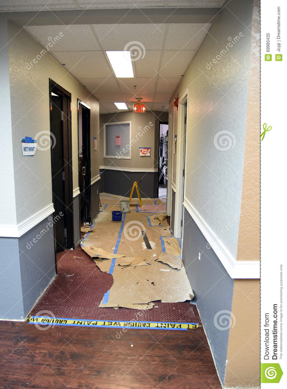 Office Hallway Painting Stock Photo Image 69985435