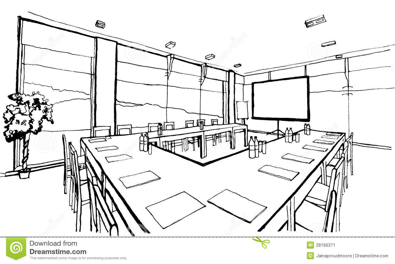 Office hand drawing inc stock illustration illustration for Office design dwg