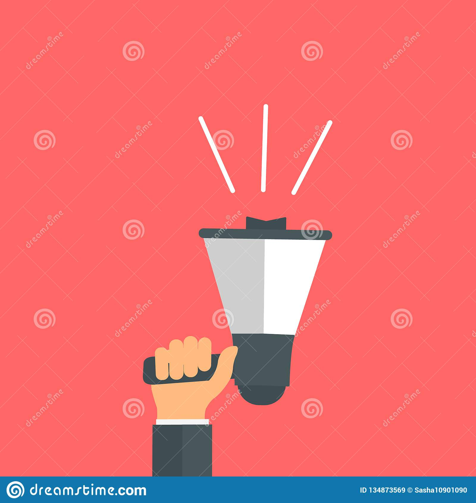 Office hand holds a megaphone. Flat style. Announcement