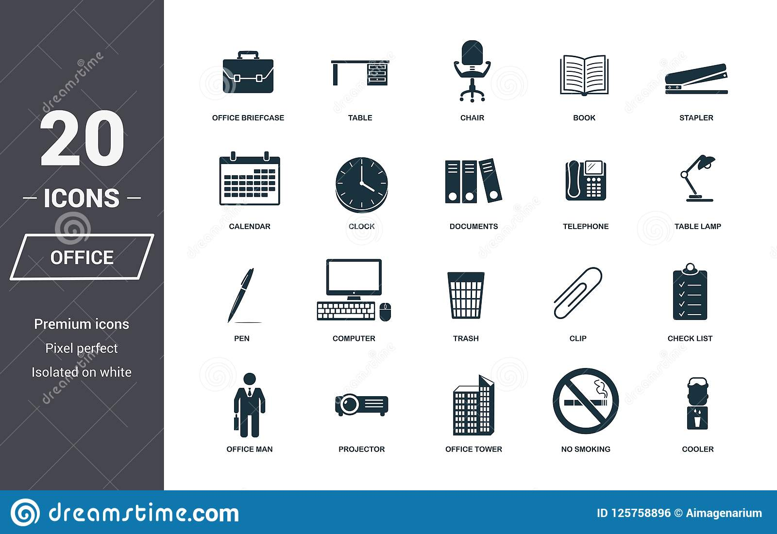 Office Icons Set Premium Quality Symbol Collection Office Icon Set Simple Elements Ready To Use In Web Design Apps Software Stock Illustration Illustration Of Businessman Business 125758896
