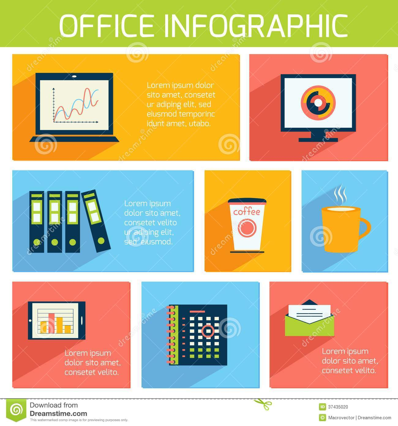 Office Infographics Flat Business Template Stock Vector