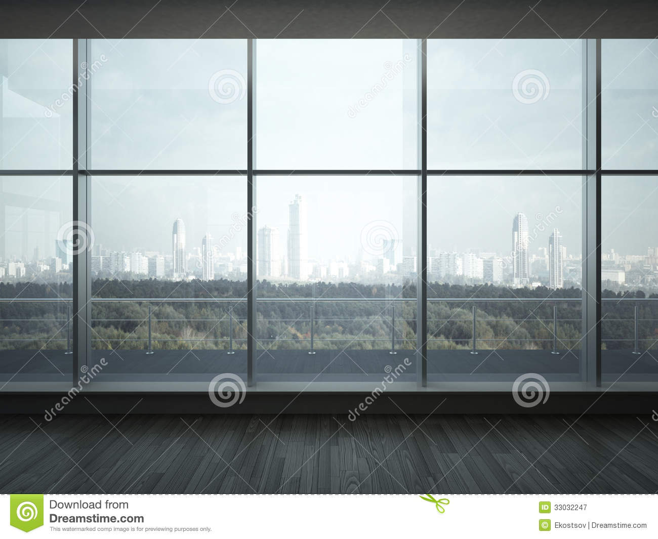 Office Interior With Big Windows Stock Image - Image of