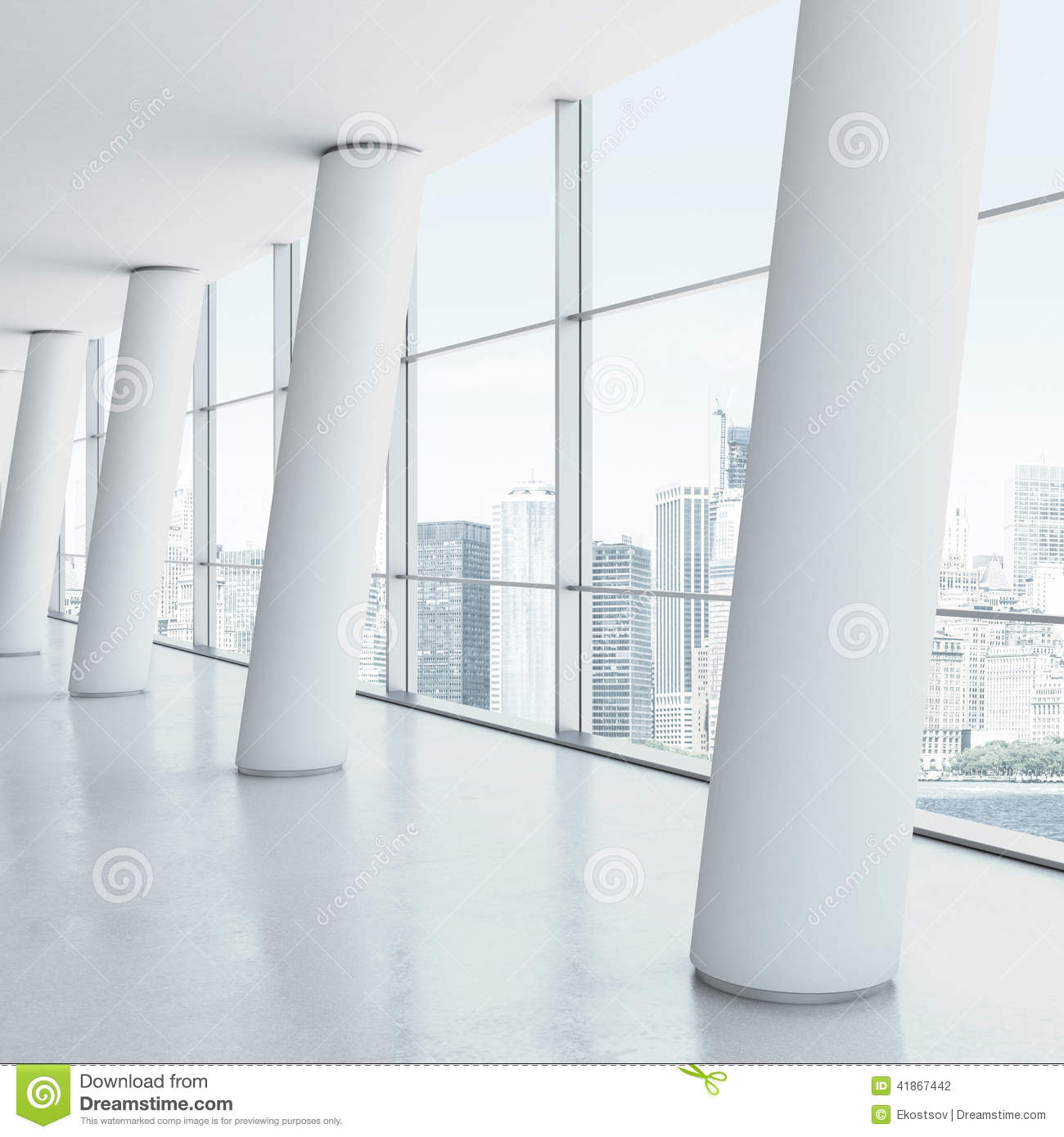 Office Interior With Columns Stock Photo - Image: 41867442