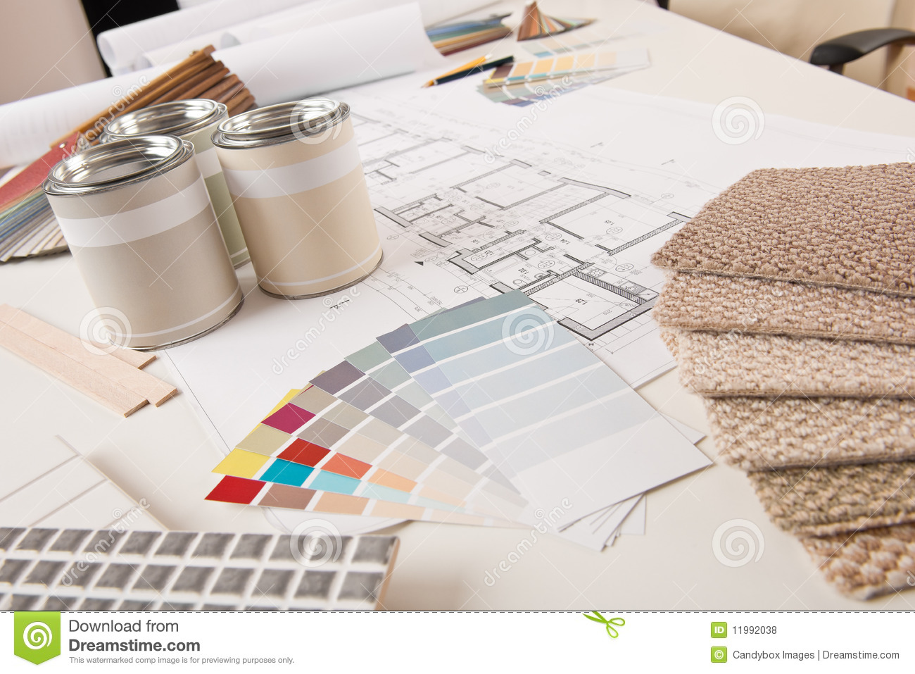 Office of interior designer with paint