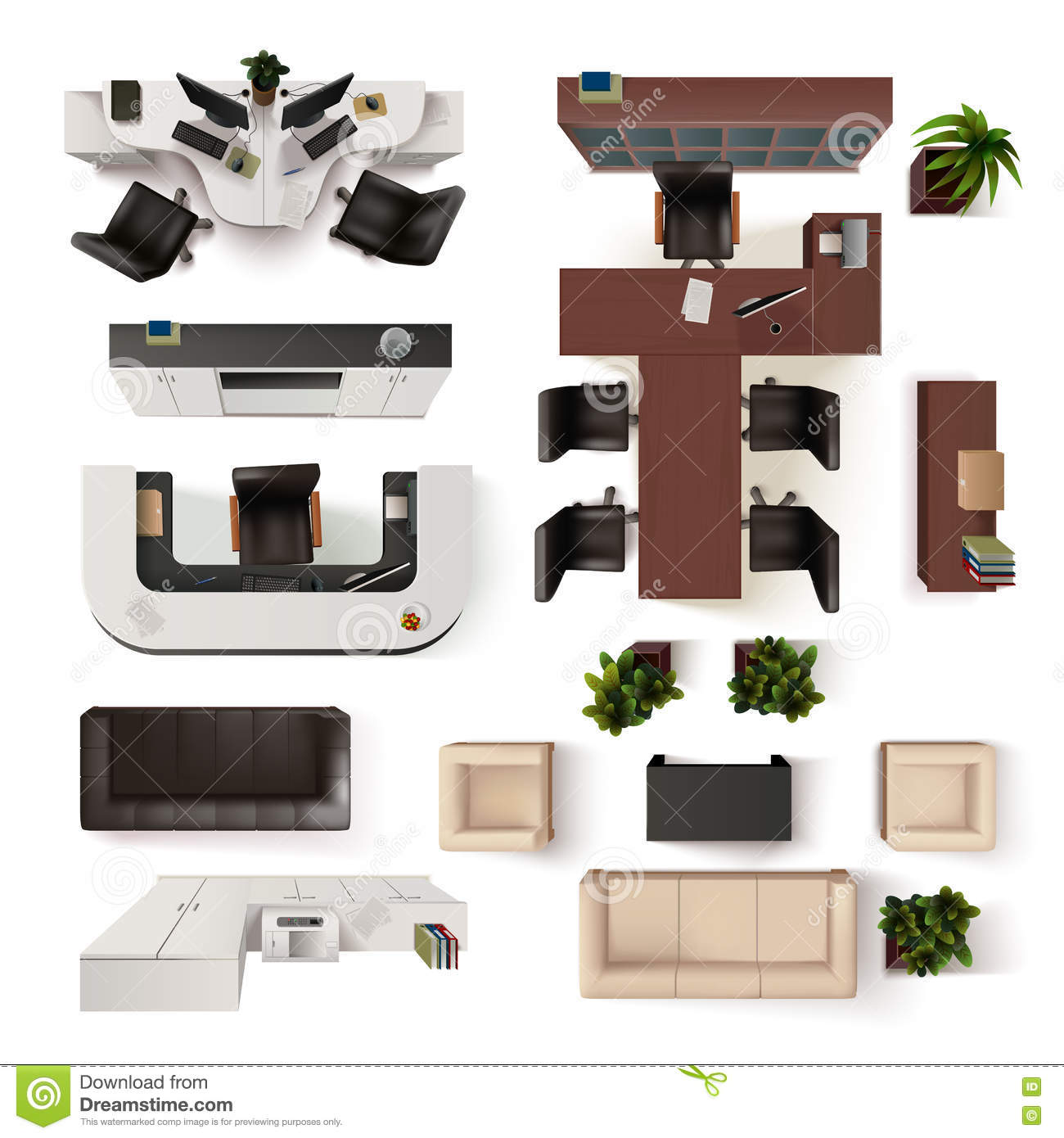 Office Interior Elements Top View Set Stock Vector  : office interior elements top view set collection vector illustration decorative design 73318582 from www.dreamstime.com size 1300 x 1390 jpeg 125kB