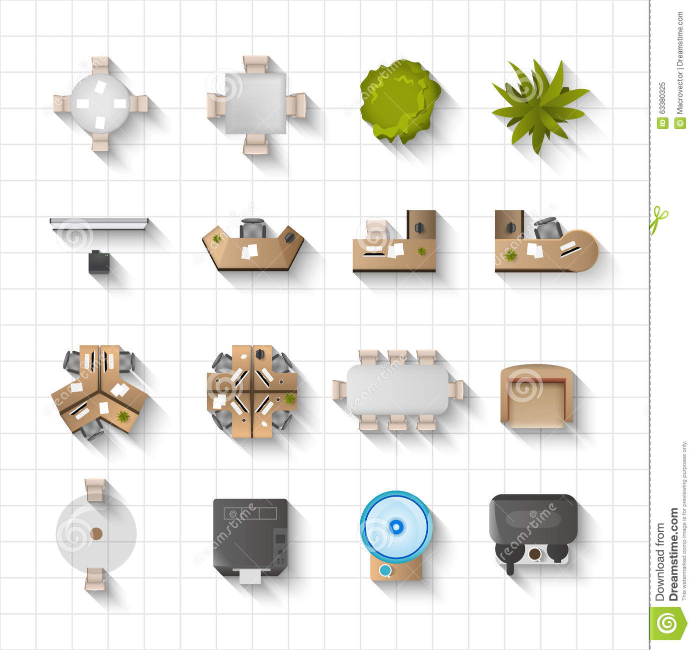Office Interior Design Vector Picture Ideas With Easy Floral On Stock Illustration Icons