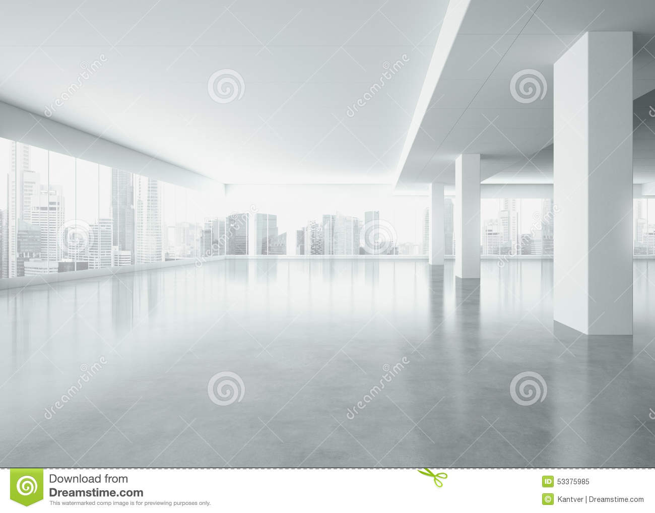 Stock Illustration Office Interior Large Windows D Render White Space Big Image53375985 on 3d Modern House Floor Plans