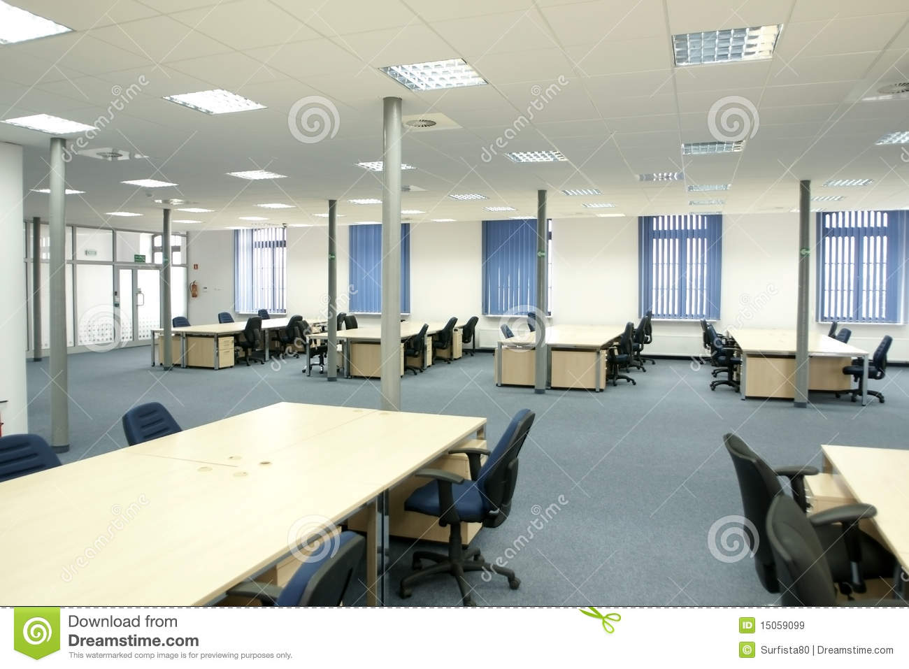 Office interior modern empty open space office royalty for Interior design of office space