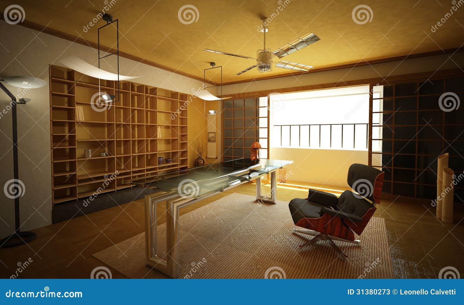 Office Interior Modern Oriental Style Stock Illustration