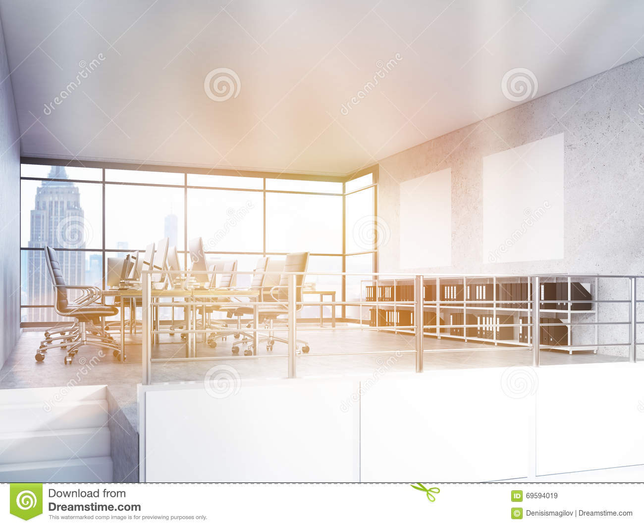 Office interior with nyc view stock illustration image for Interior design office new york