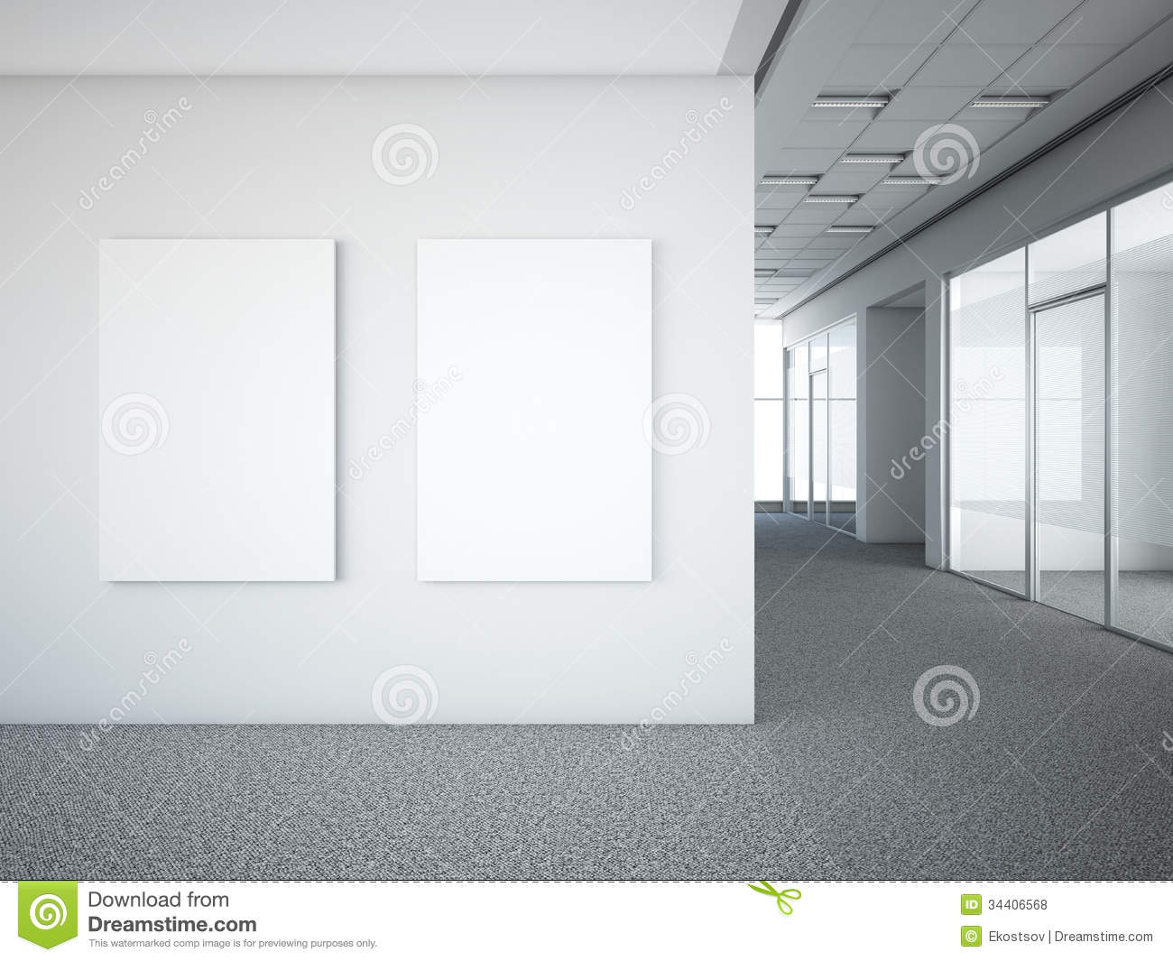 Office Interior With Two White Frames Royalty Free Stock Photos