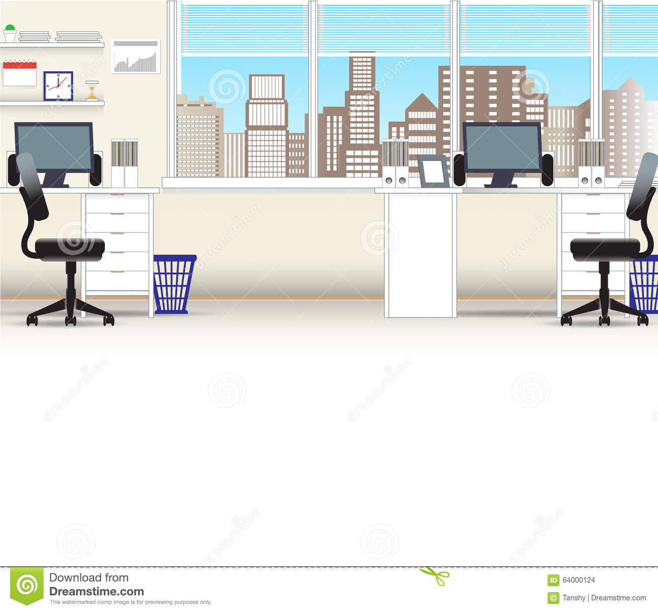 Office Interior Vector Business Background Stock