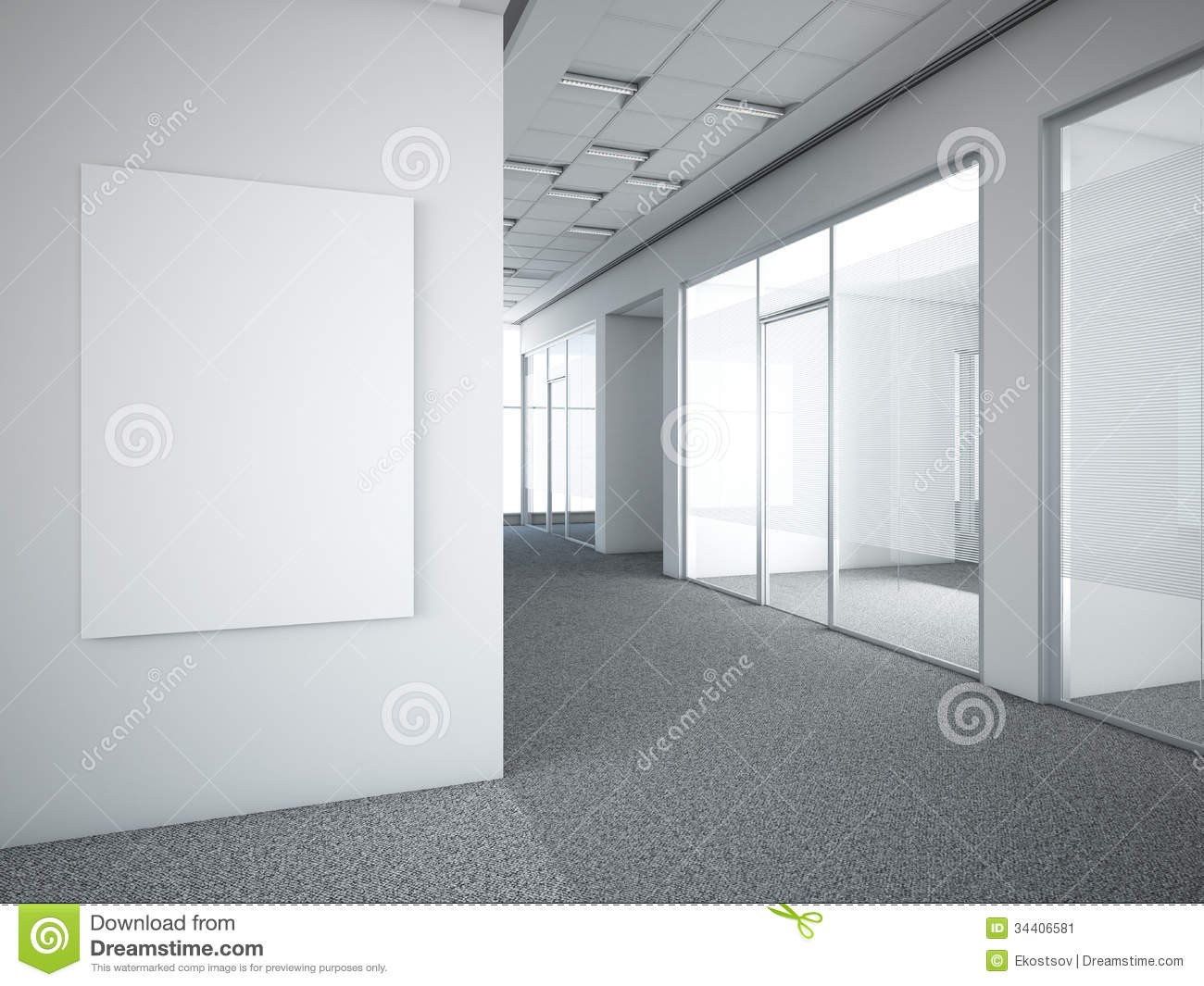 Office Interior With White Frame Stock Illustration