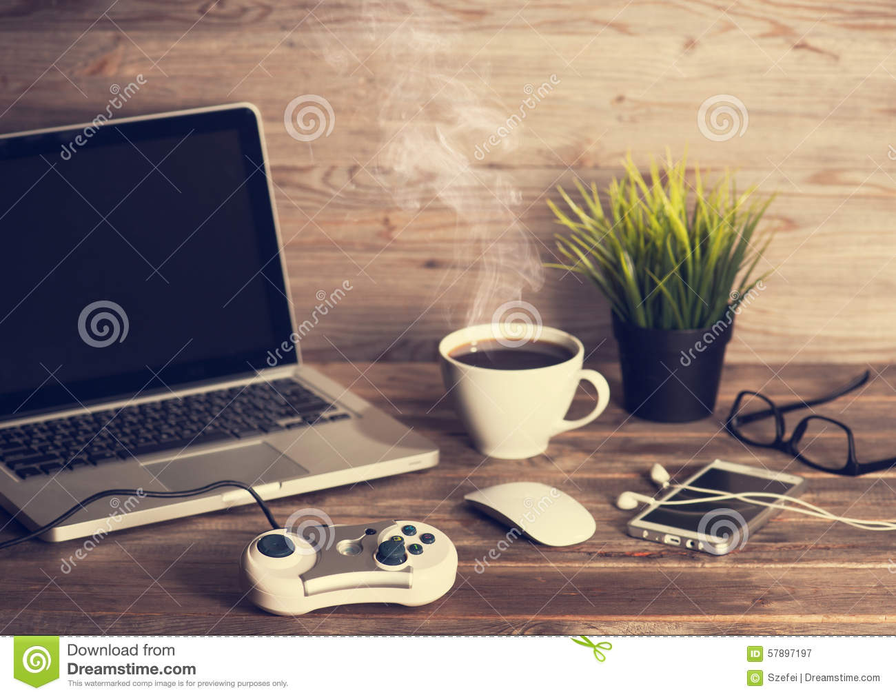 Office Interior Wooden Working Desk Stock Image Image Of Mobile Mockup 57897197