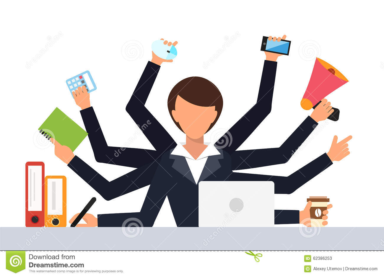 Office job stress work vector illustration stock vector for Stress travail