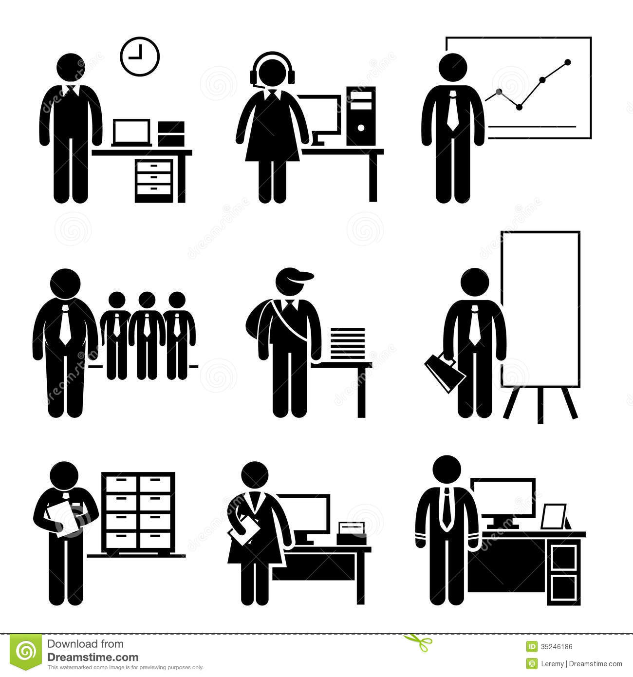 Office Jobs Occupations Careers Royalty Free Stock Image - Image ...