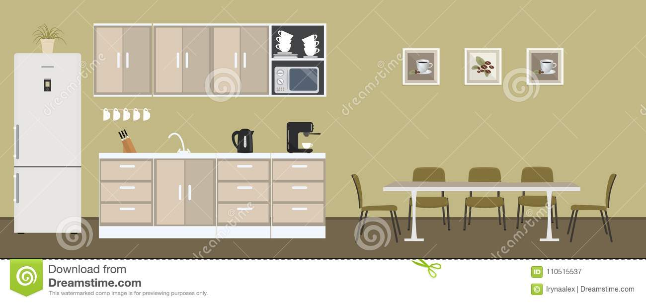 Office Kitchen In A Green Color. Dining Room In The Office Stock ...