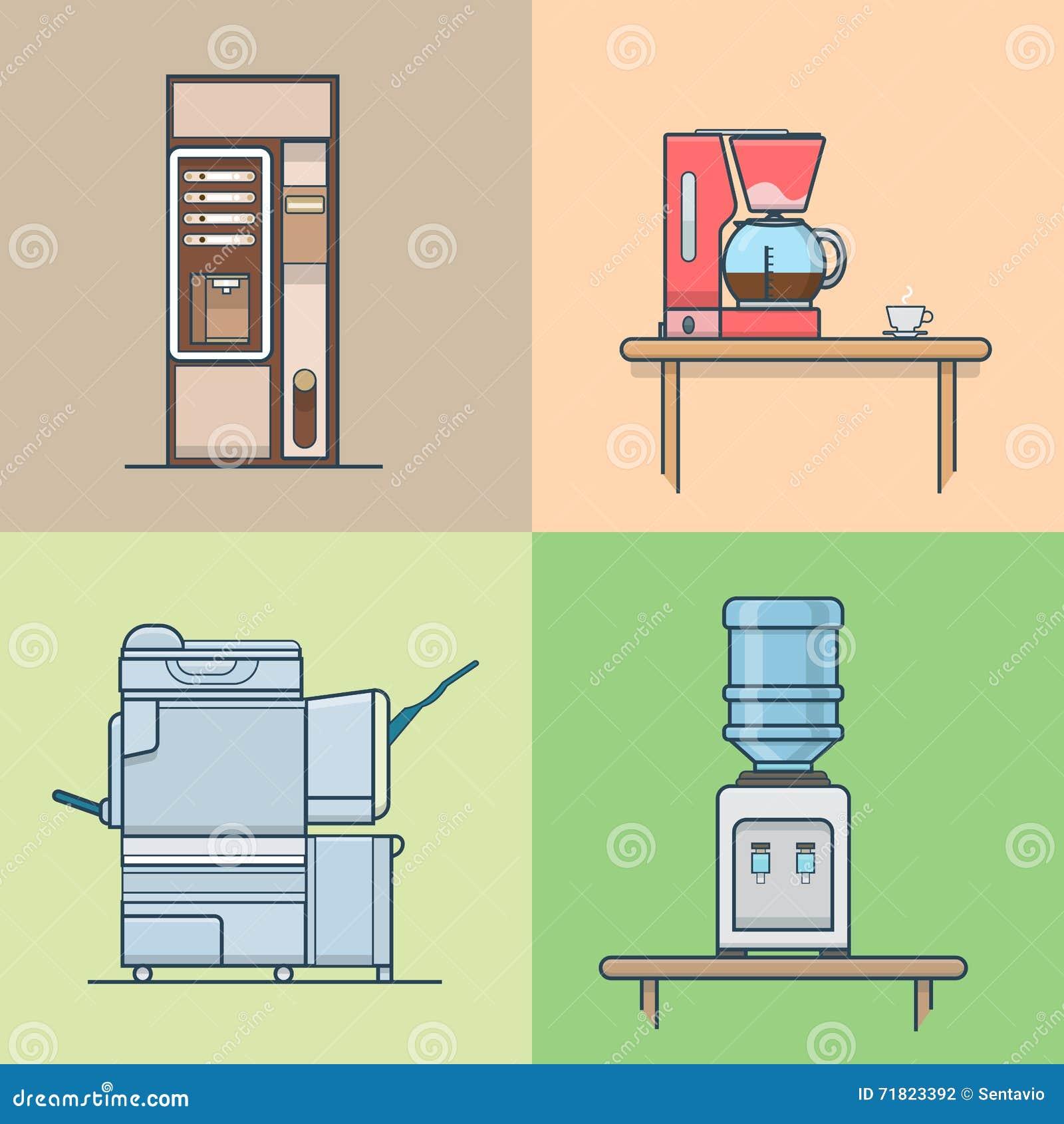 Office Kitchen Interior Design: Office Kitchen Technical Room Interior Indoor Set. Stock