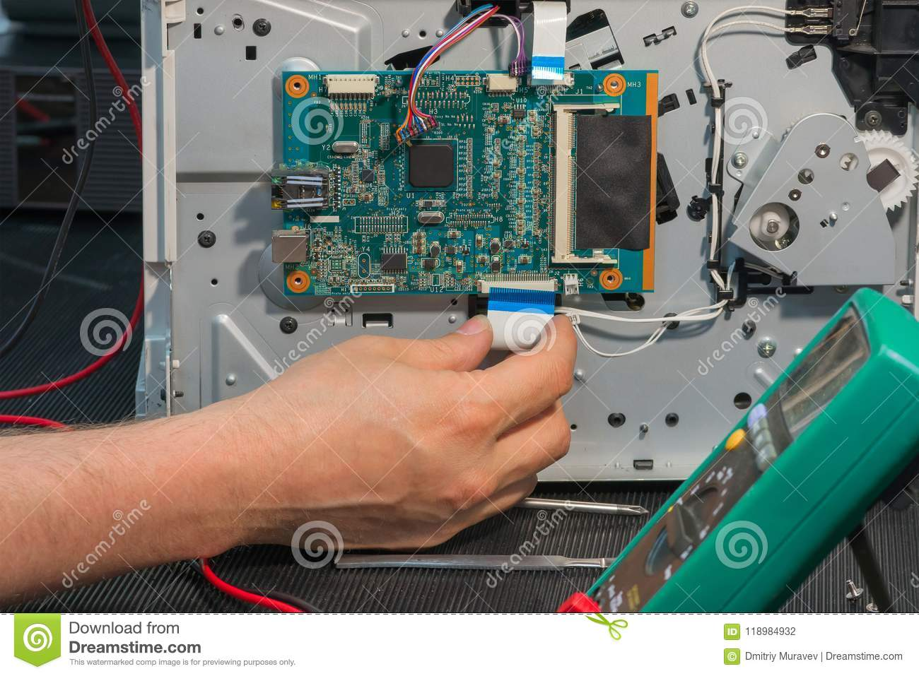 Office Laser Printer Diagnostics And Repair Disassembly Circuit Electronic Board Royalty Free Stock Photography Image Photo