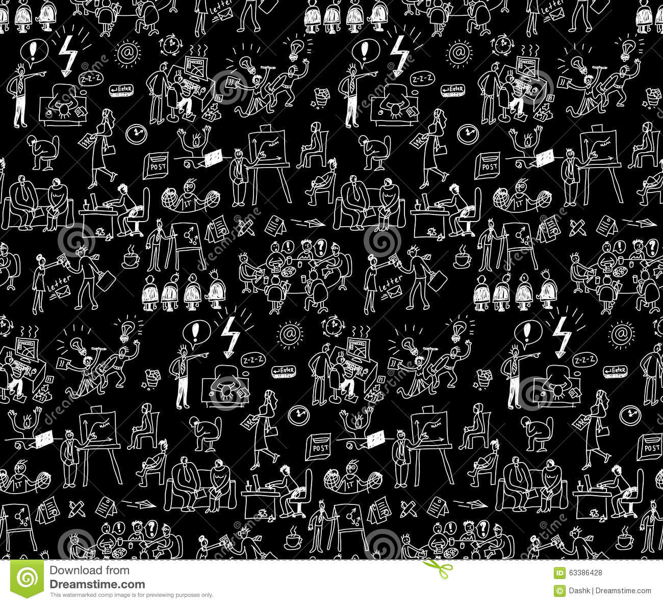 Office Life Black And White Seamless Pattern Business