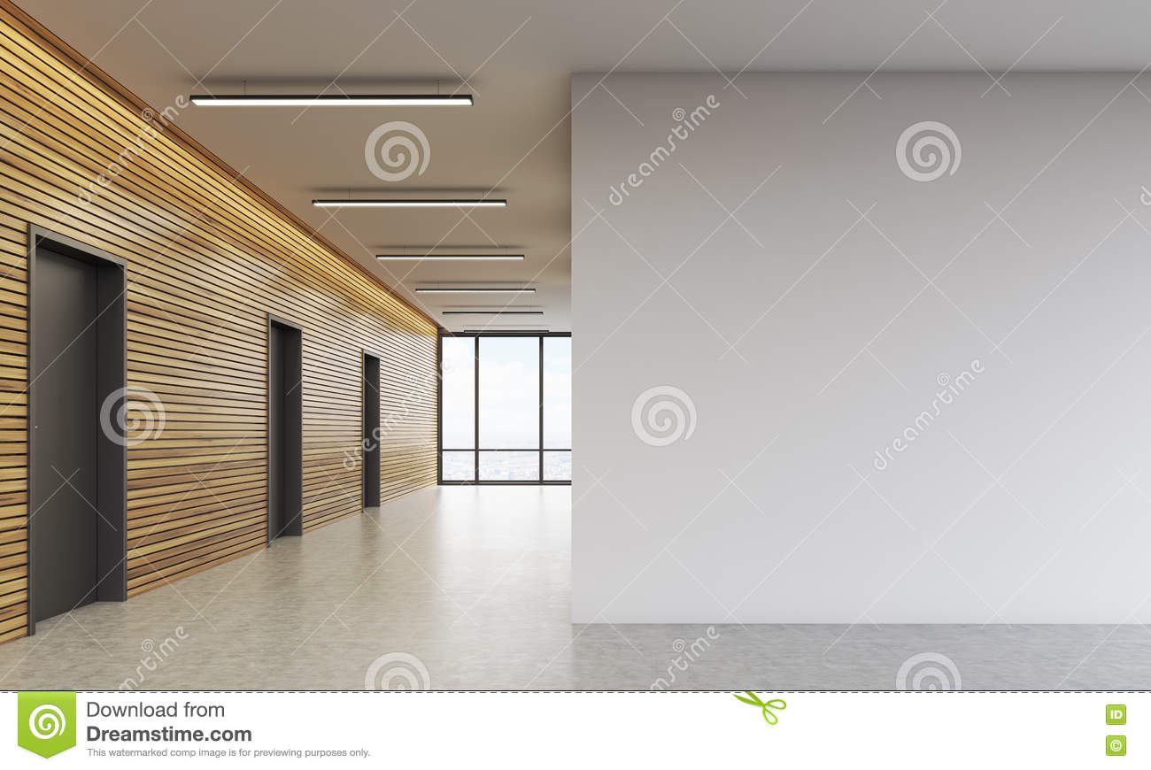 Office Lobby With White Wall Stock Illustration