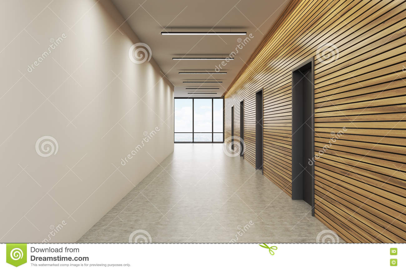 Office lobby with white and wooden wall stock illustration for Office wall interior