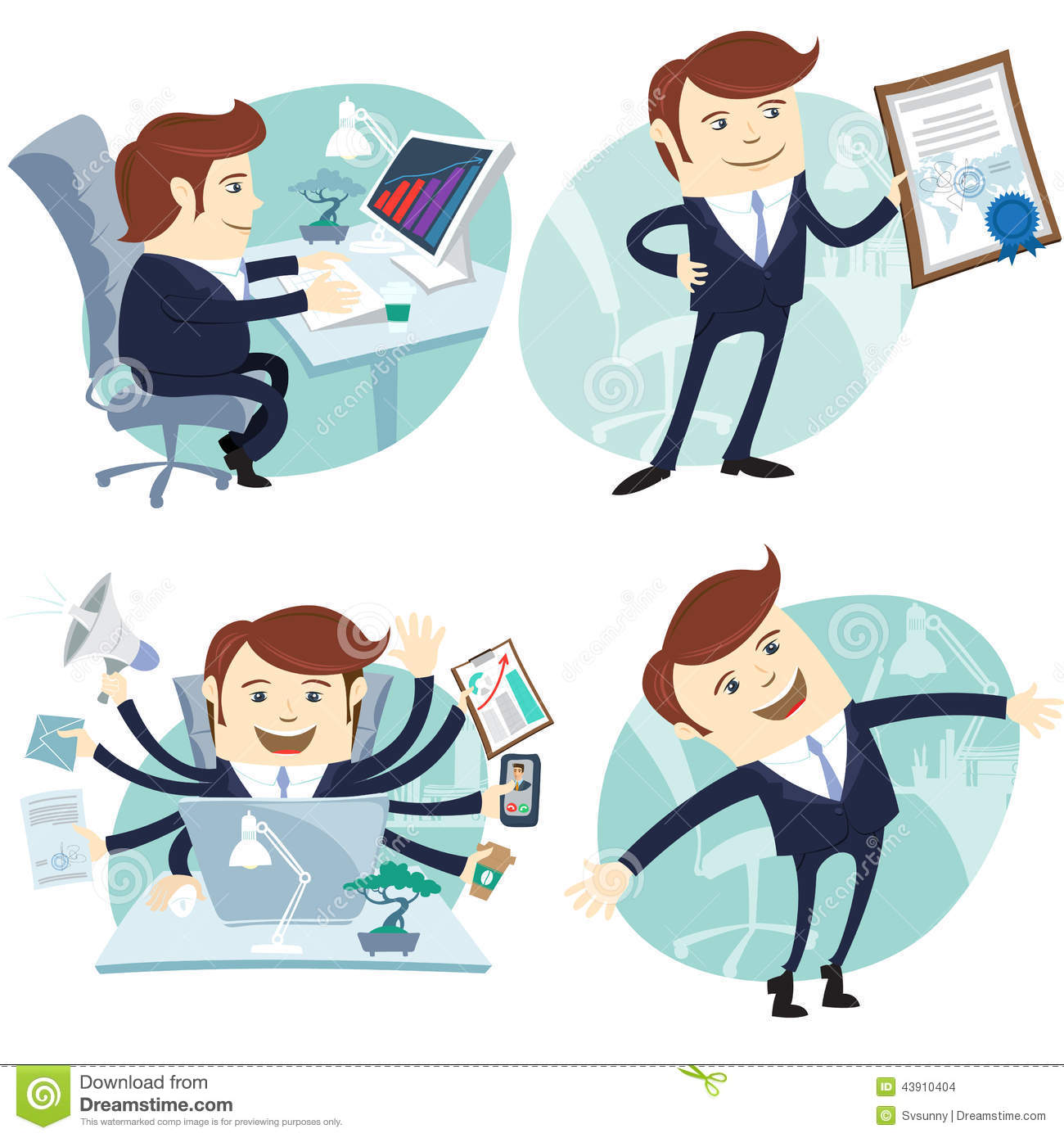 Office Man Set Showing A Diploma Happy Worker Busy
