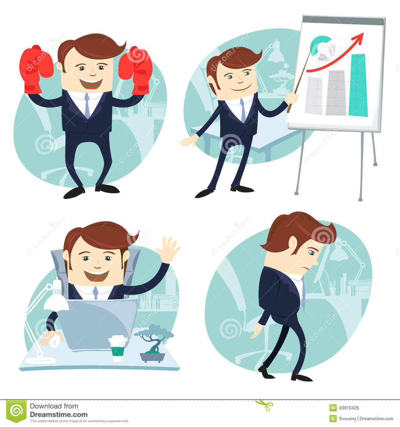 Office Man Set Showing A Presentation Happy Worker At