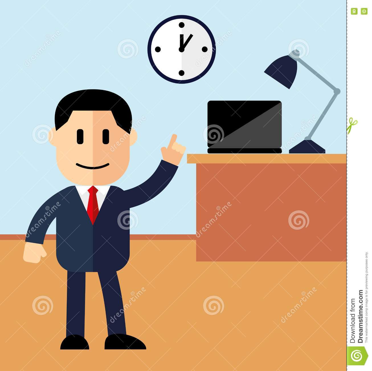 office manager showing thumb up working hours in the