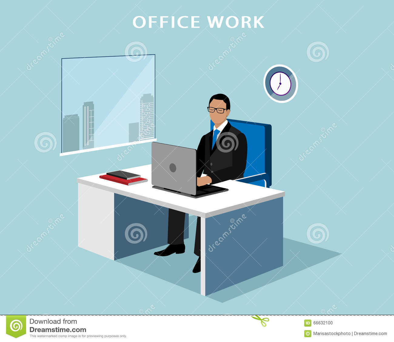 Office Manager Working At Computer In The Office. 3d ...