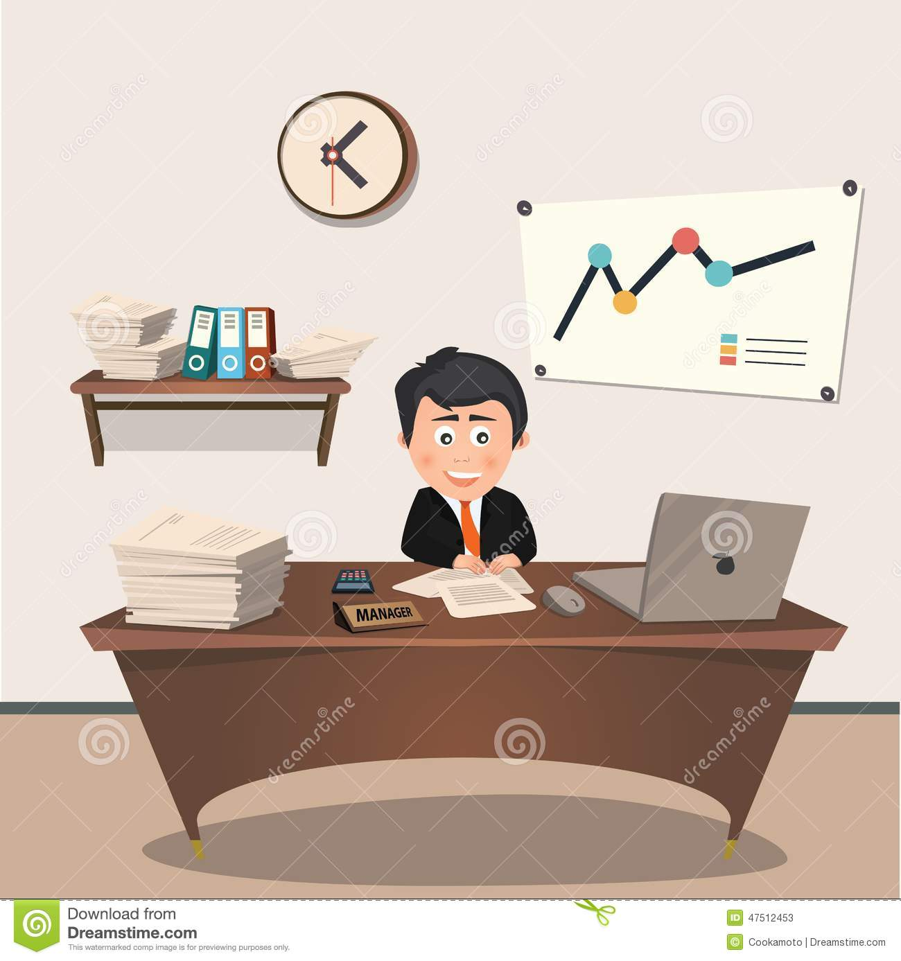 Office Manager At The Workplace Flat Design Stock Vector