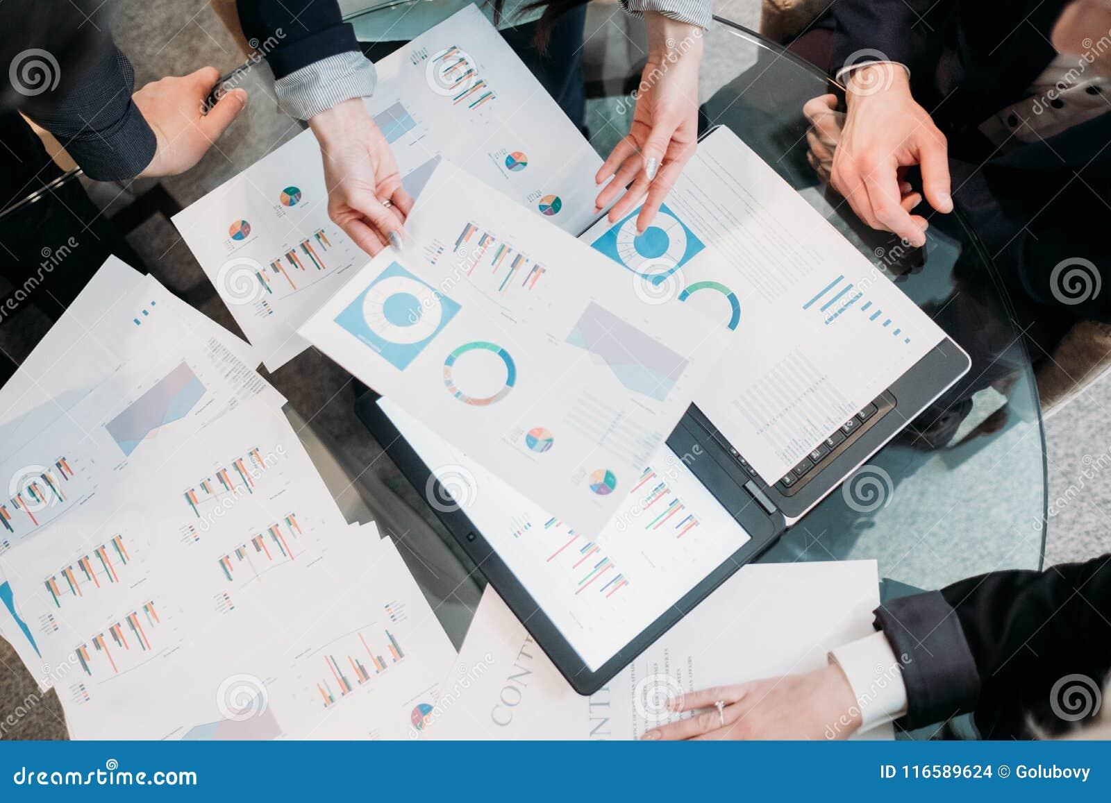 Meeting Business Team Brainstorm Document Info Stock Photo