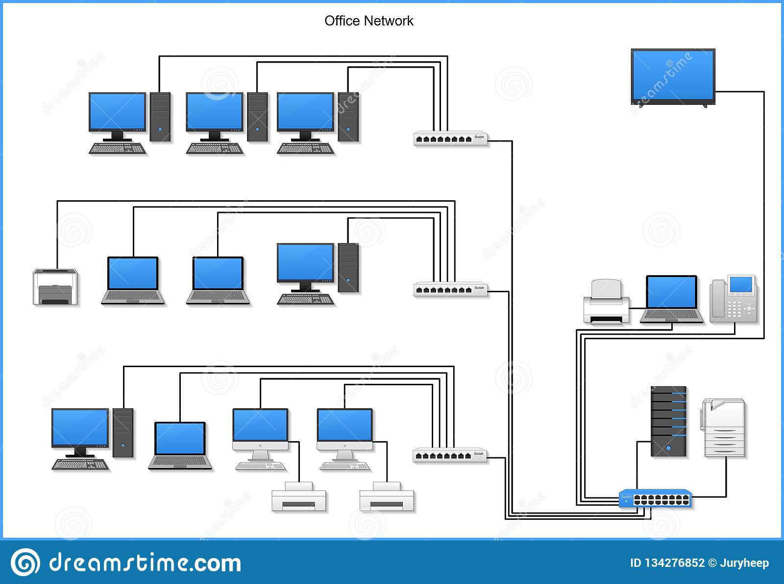 Office Network Diagram With Devices  Buildings On White