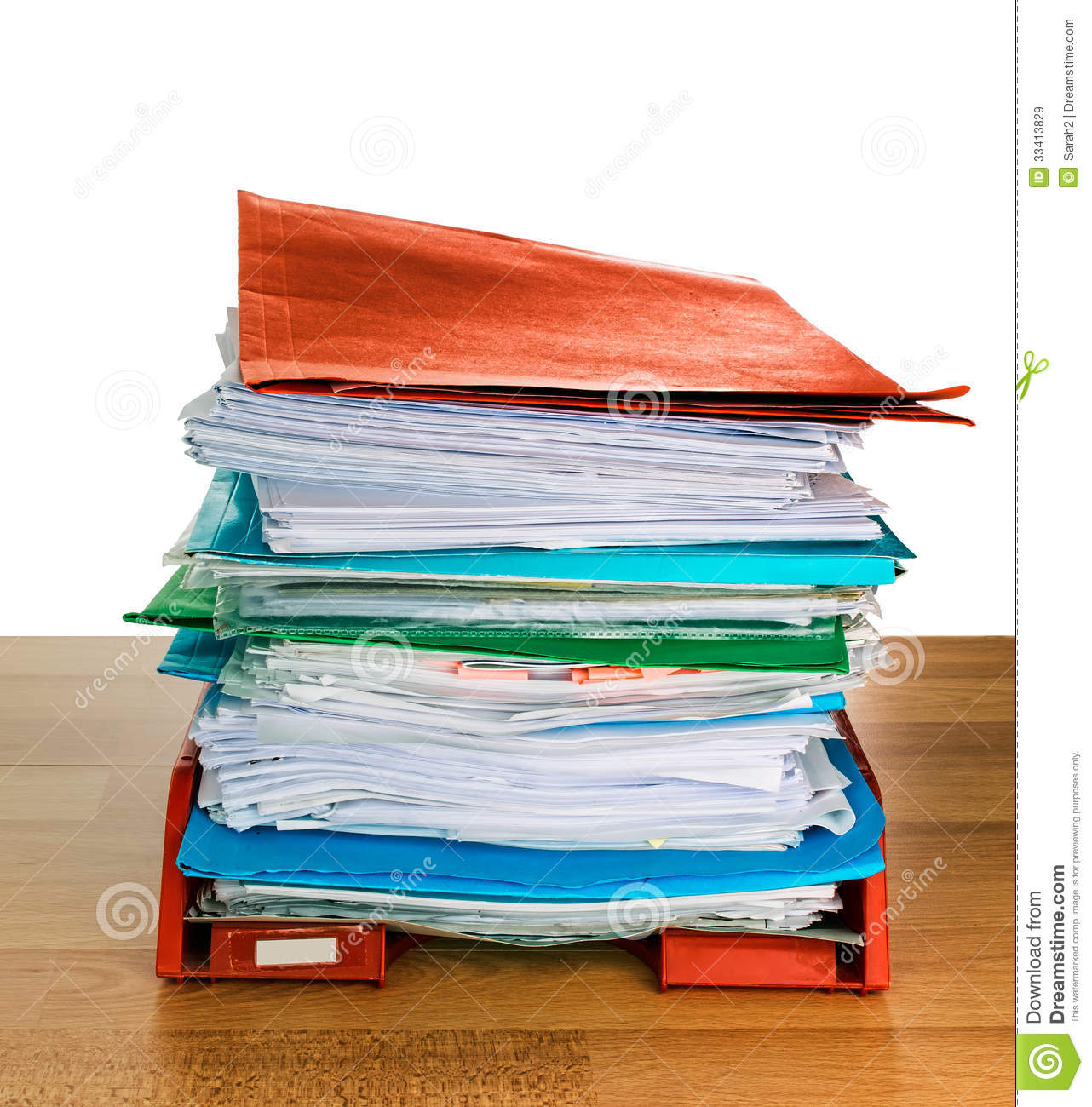 Office paperwork in-tray, administration