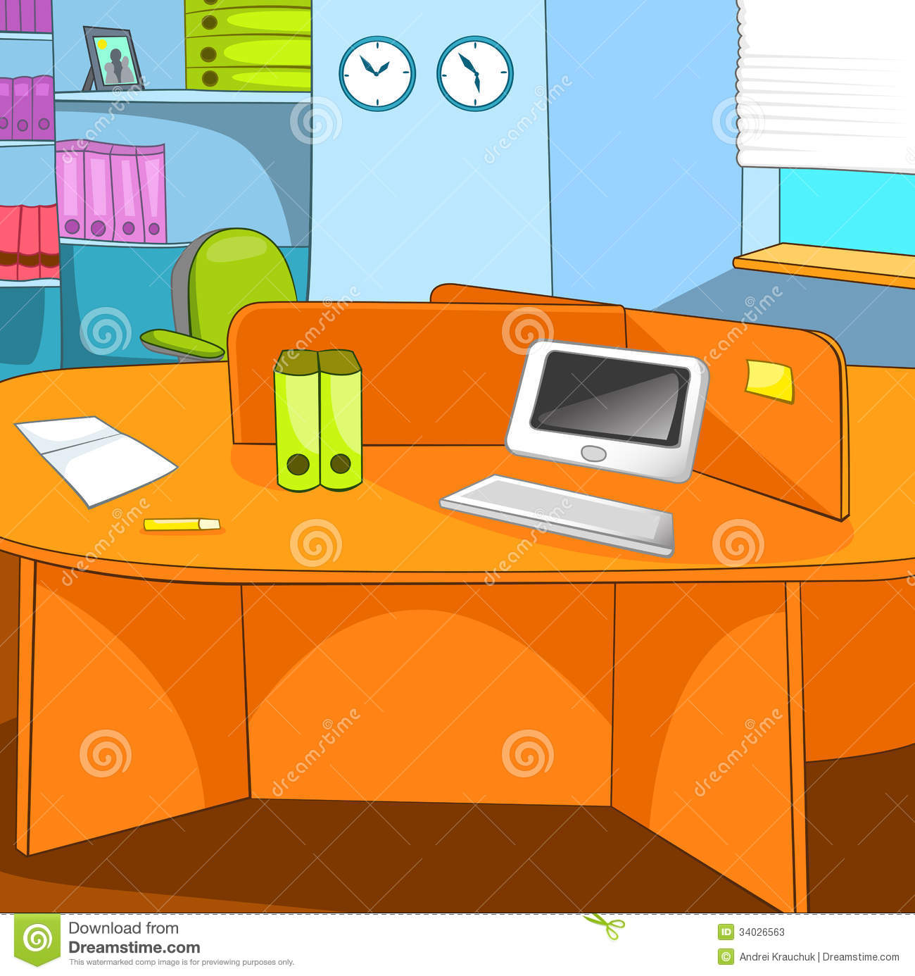 office place stock vector image of working paper