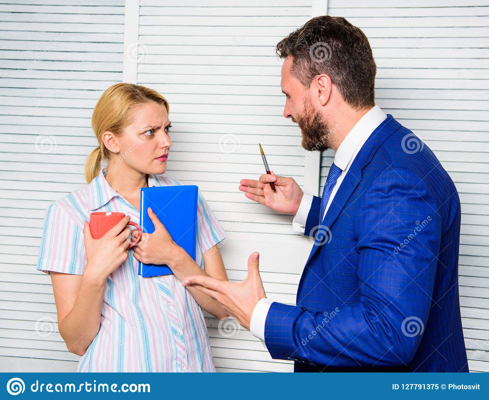 Office quarrel concept. Misunderstanding between colleagues. Prejudice and personal attitude to employee. Tense