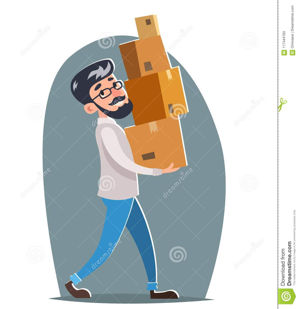 Office Relocation Box Cargo Freight Loading Delivery Shipment Male