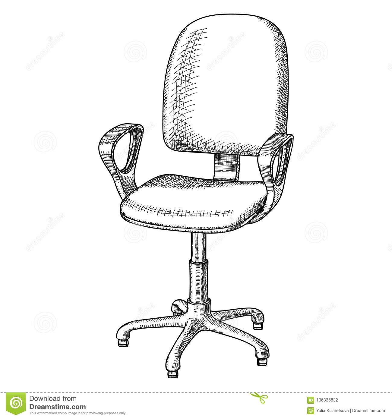 office revolving chair with backrest and armrests hand drawn black