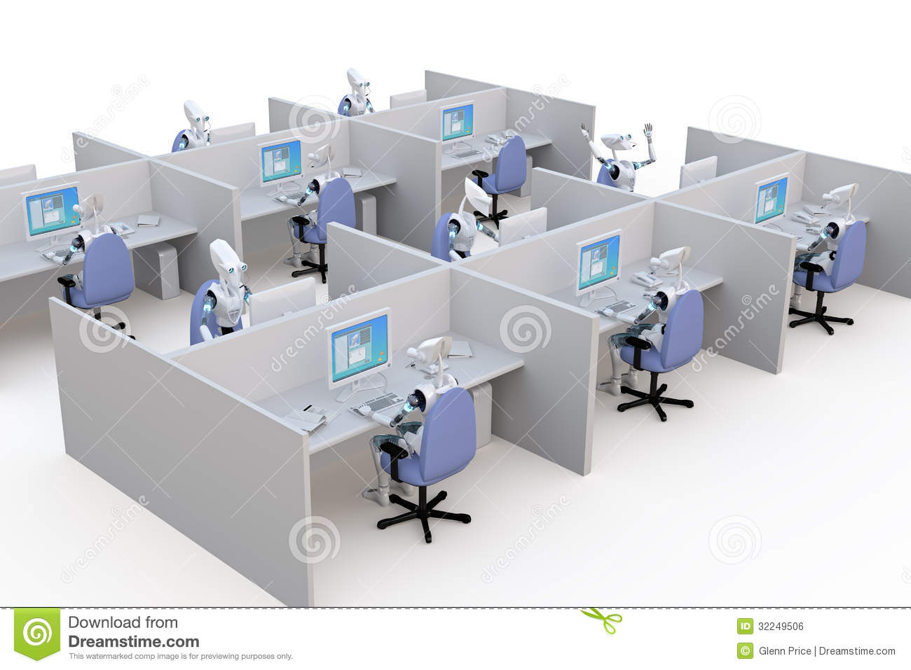 Royalty Free Stock Image Office Robots D Render Several Working Cubicles Against White Background Image32249506 on Office Cleaning Clip Art Free