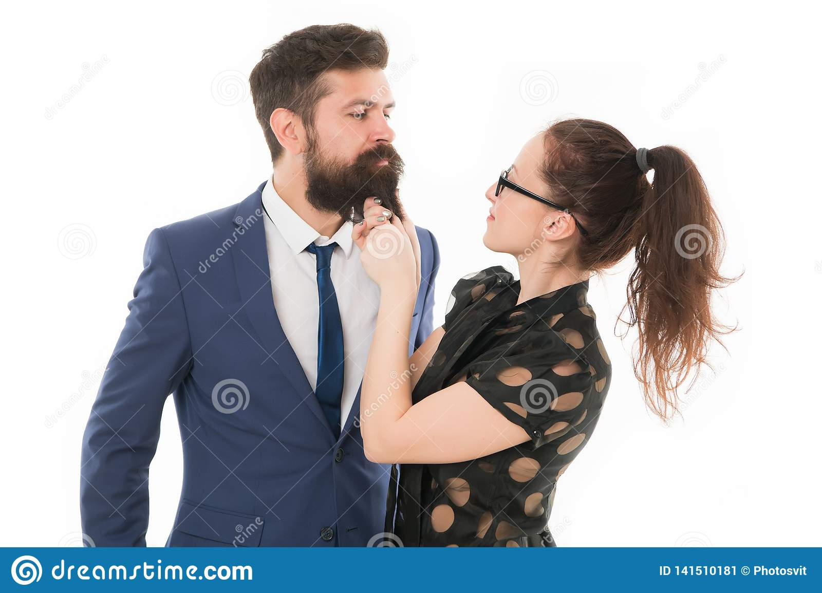 8f95e3469e Art of flirt. secretary flirt. Knowing his dirty secrets. She knows how  achieve success. Colleagues men with beard and pretty women flirting.