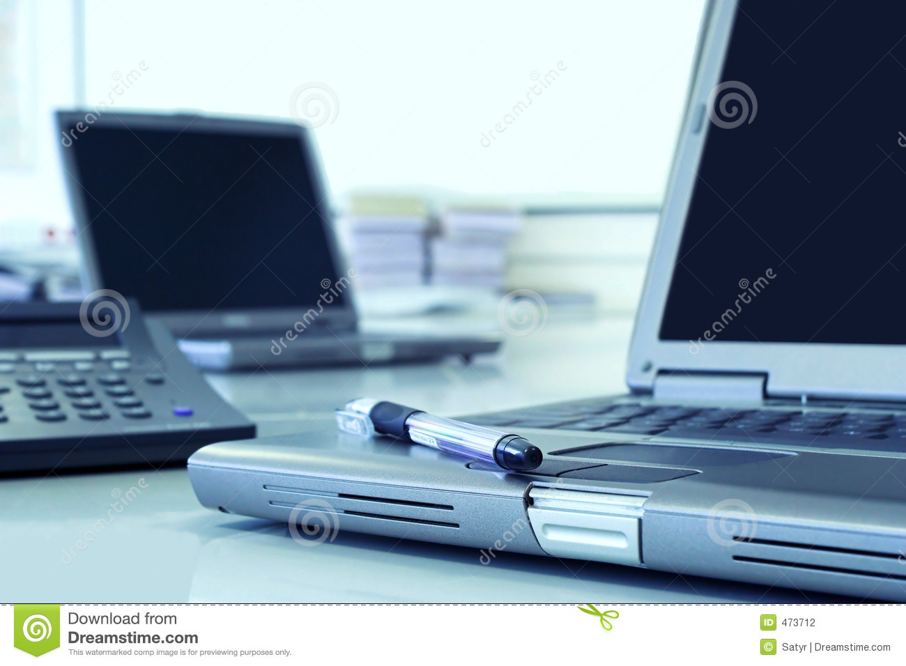 Download Office room in blue stock photo. Image of corporate, company - 473712