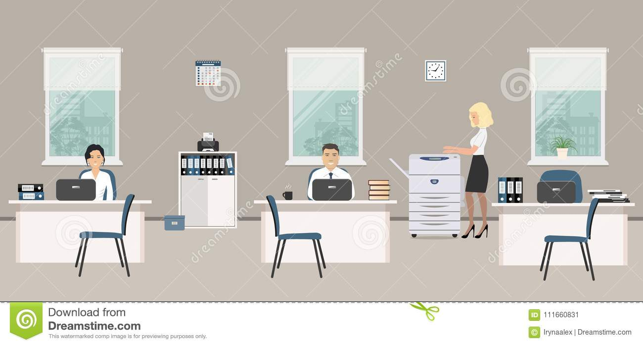 office furniture for women. Office Room In A Gray Color. Young Women And Man Are Emploees At Work Furniture For E