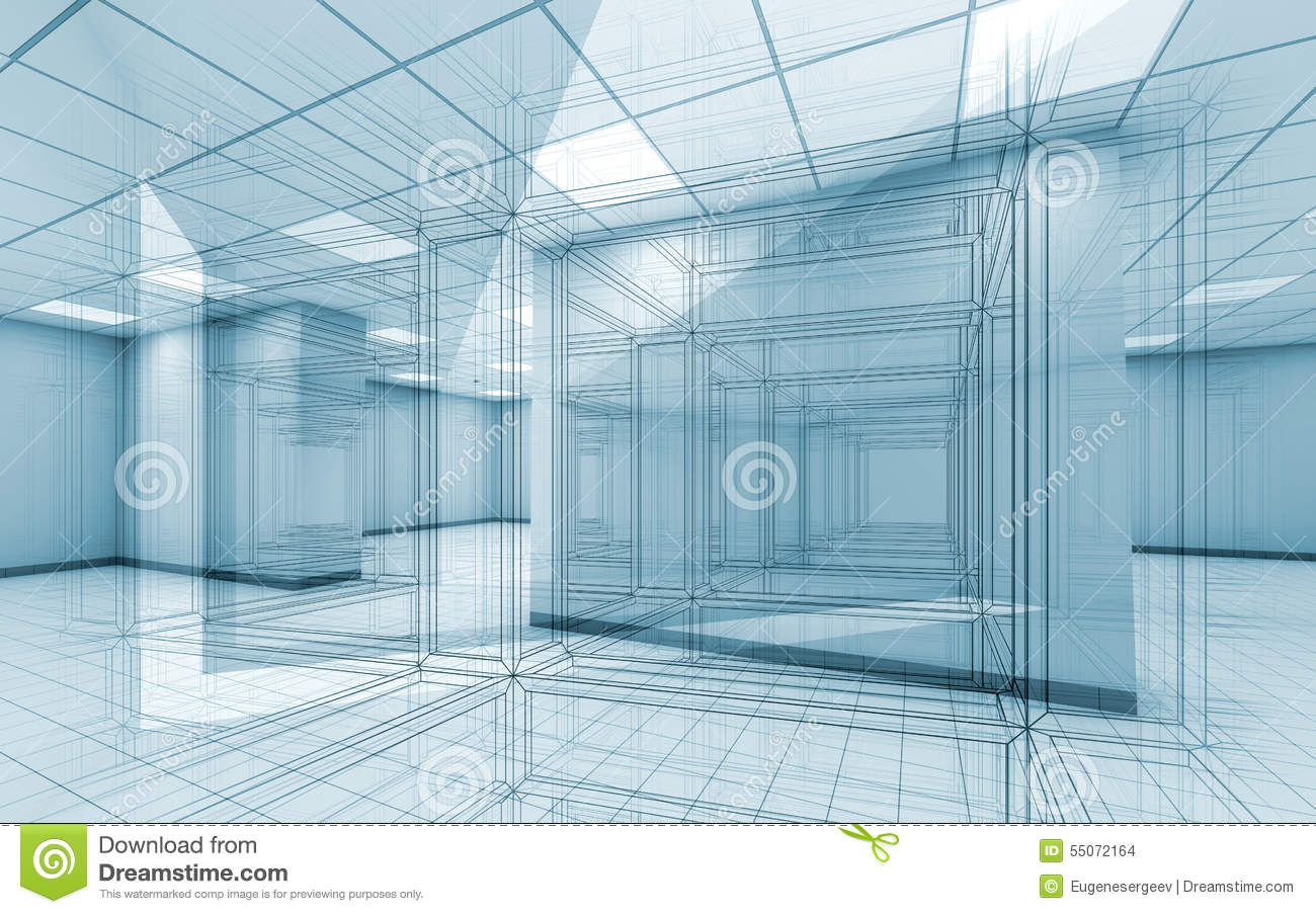 Drawing Lines In Office : Office room interior background with wire frame lines stock